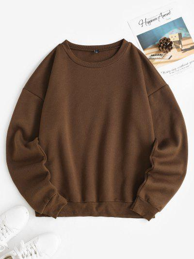Fleece Lined Oversized Drop Shoulder Sweatshirt - Coffee Xs
