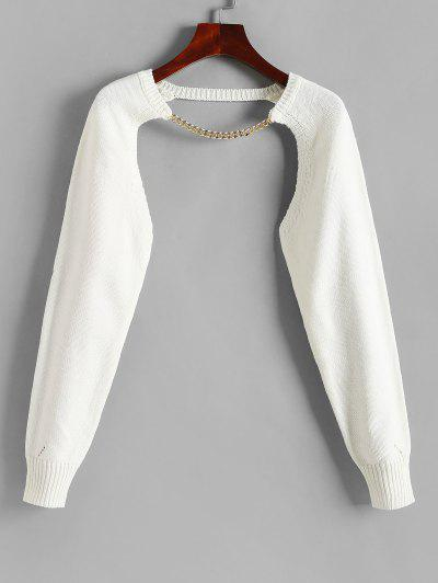 Chain Embellish Shrug Sweater - White S