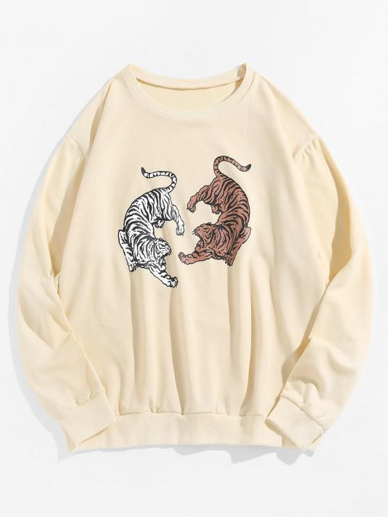outfit ZAFUL Tiger Print Drop Shoulder French Terry Sweatshirt - LIGHT COFFEE S
