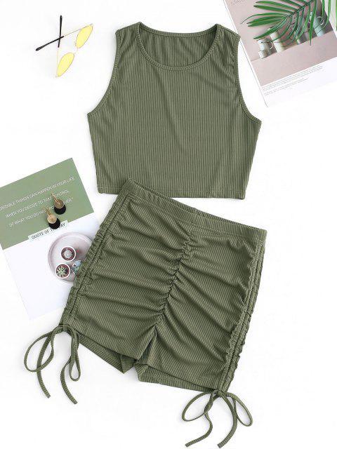Conjunto de Shorts de Canalé con Pliegues Acanalados - Verde S Mobile