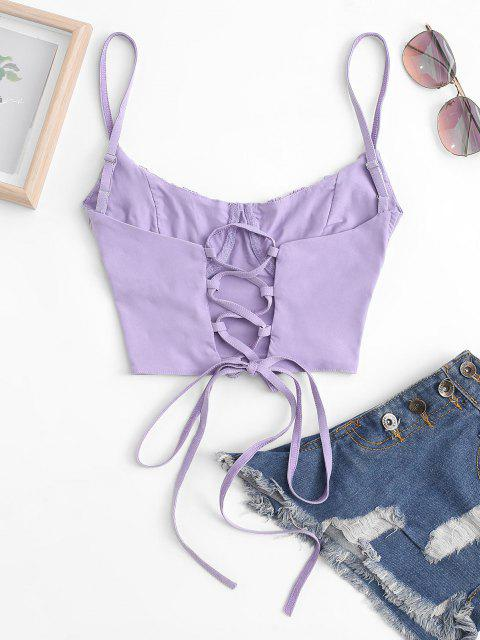 fashion Ruched Lace-up Bustier Cami Top - LIGHT PURPLE S Mobile