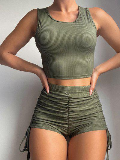 Ribbed Cinched Scrunch Butt Shorts Set - Green S