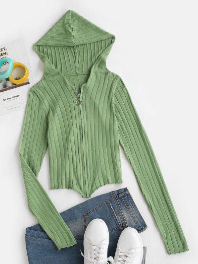 Cárdigan Capucha Zipper Frontal - Verde Claro