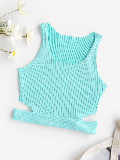 Cropped Side Cutout Ribbed Knit Tank Top - Light Blue M