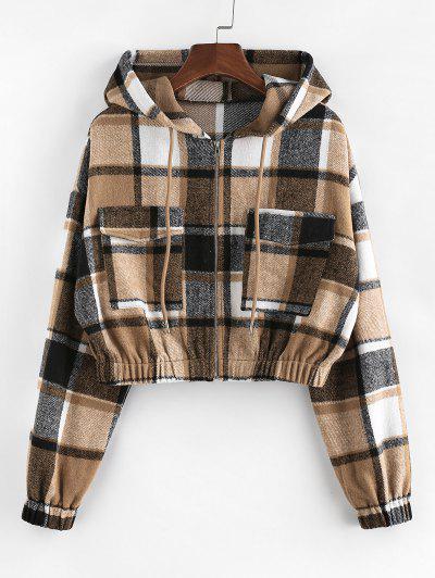 ZAFUL Plaid Flannel Flap Pocket Zip Hooded Jacket - Multi S