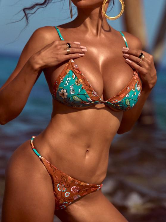 ZAFUL Bikini de Cuerdas con Estampado de Plantas Bohemia - Oro Anaranjado S
