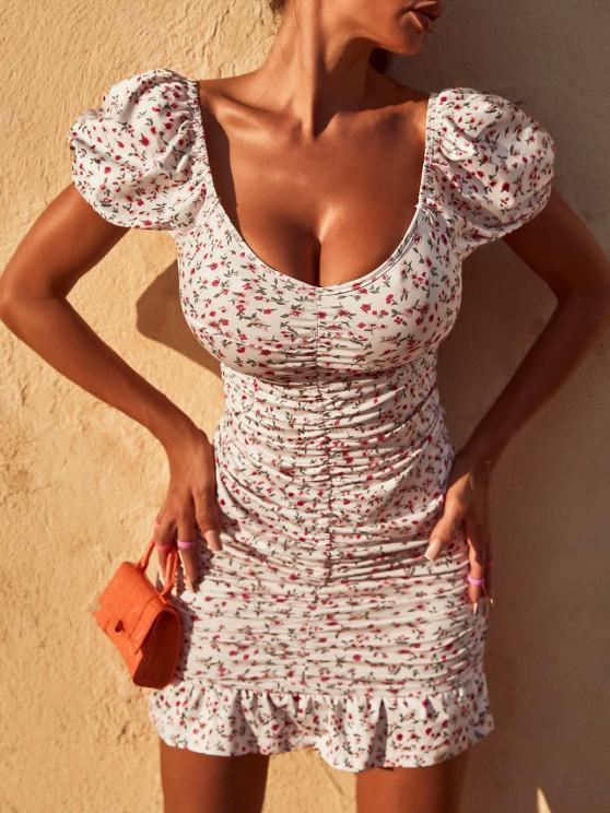 ZAFUL Ditsy Print Puff Sleeve Ruched Mini Mermaid Dress - أبيض S
