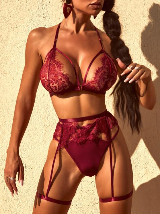 latest Lace Front Closure Bra and Garter Set - RED WINE M