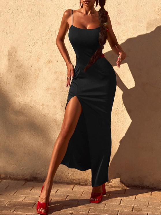 Spaghetti Strap Thigh Split Slinky Maxi Dress - أسود M