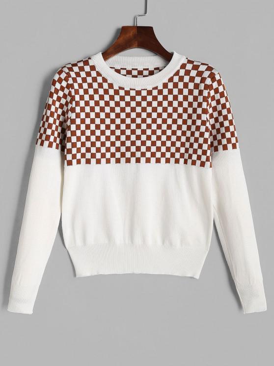 CrewNeck Checkerboard Graphic Pullover - Tiefkaffee Eine Größe