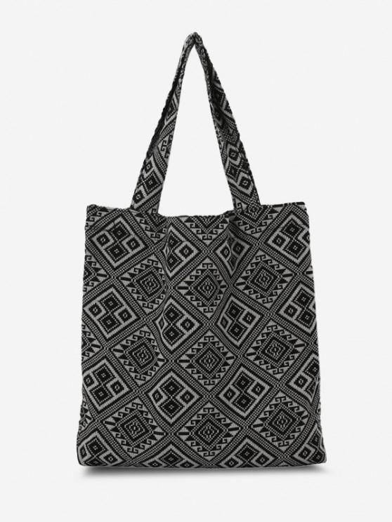 Bandana-inspirierte Druckleinwand-Taschen-Tasche - Schwarz