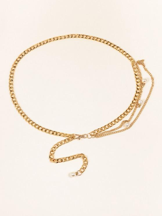 Künstliche Perlen Verschönerte Geschichtete Gürtel - Golden 1 Stück