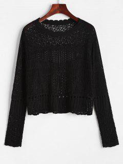Jersey Tejido Crochet Borde Festoneado - Negro