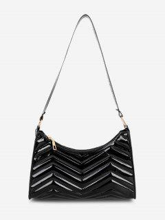 Minimalistic Zigzag-Quilted Faux Patent Leather Shoulder Bag - Black
