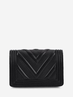 Mini Bolsa Cruzada Cadena Acolchada Zigzag - Negro