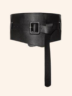 Cinturón Ancho De Cuero Artificial Con Nudo - Negro 1 Pieza
