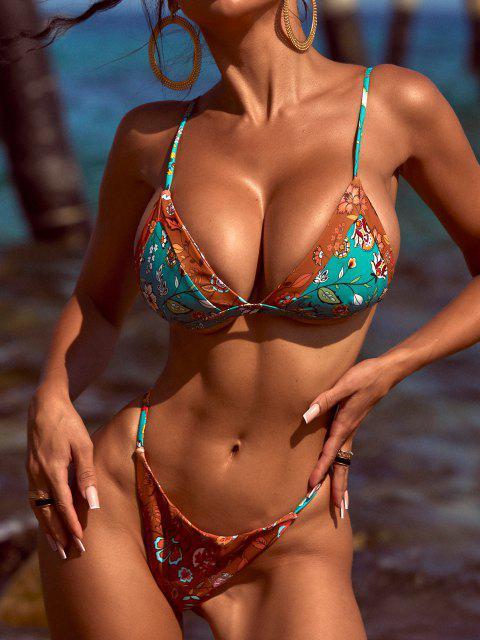 ZAFUL Bikini de Cuerdas con Estampado de Plantas Bohemia - Oro Anaranjado M Mobile