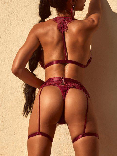 latest Lace Front Closure Bra and Garter Set - RED WINE M Mobile