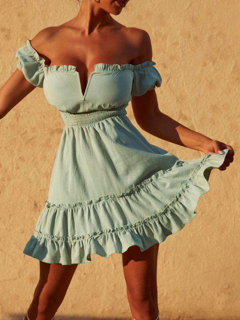 ZAFUL Schulterfreies V Verdrahtet Kittel Kleid mit Rüschen - Hellgrün XL Mobile