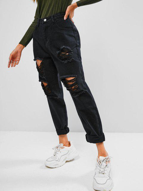 Ripped mit Hohen Taille Stovepipe Jeans - Schwarz S Mobile