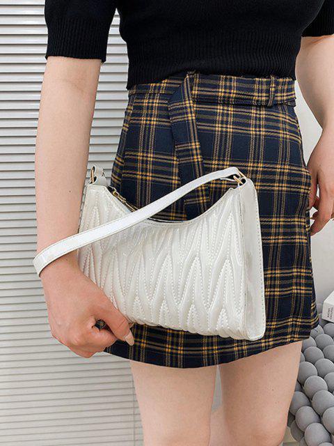 Minimalistic Künstliche Leder Gesteppte Umhängetasche - Weiß  Mobile