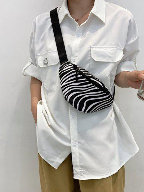 Lässige Gürteltasche mit Riemenstreifen - Schwarz  Mobile