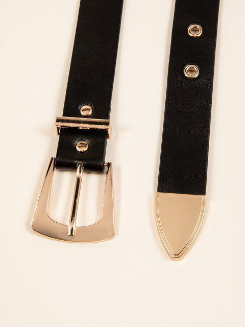 Retro Gold Zweifärbiges Dornschließe Gürtel - Schwarz  Mobile