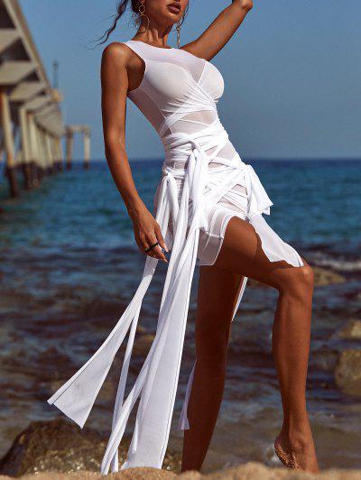Sheer Mesh Wrap-tie Slinky Bandage Dress - White L