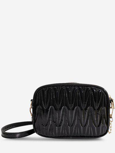Half-Chain Strap Quilted Crossbody Mini Bag - Black