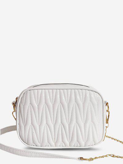 Half-Chain Strap Quilted Crossbody Mini Bag - White