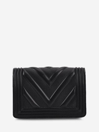 Chain Zigzag-Quilted Flap Chain Crossbody Mini Bag - Black