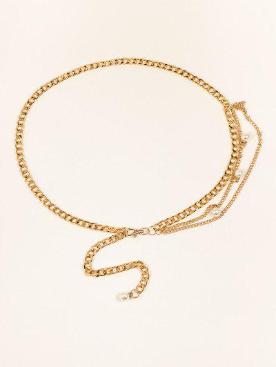 Faux Pearl Embellished Layered Chain Waist Belt - Golden 1pc