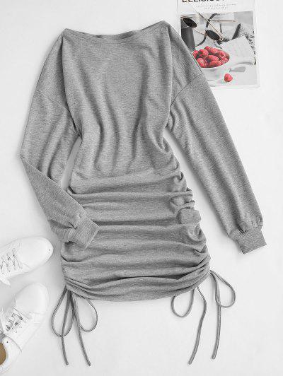 ZAFUL Drop Shoulder Cinched Ruched Sweatshirt Dress - Light Gray S