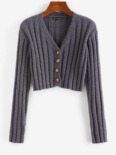 ZAFUL Ribbed Button Up Crop Cardigan - Dark Gray S
