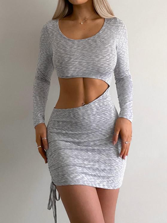 shops Space Dye Cut Out Cinched Side Slinky Dress - LIGHT GRAY S