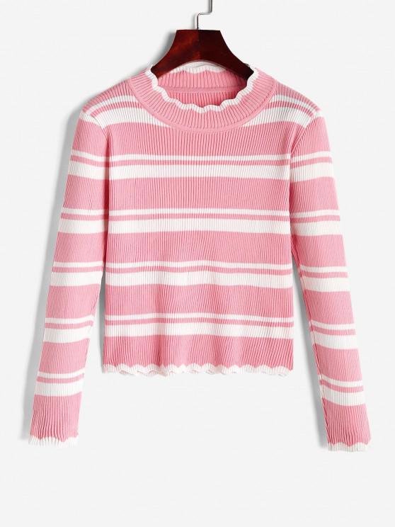 Gestreifter Überbackener Stehkragen Pullover - Hell-Pink Eine Größe
