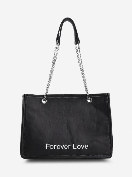 für Immer Liebe Stickerei Hälfte Kette Taschen - Schwarz
