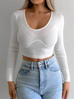 Ribbed Underbust Detail Crop T Shirt - White S