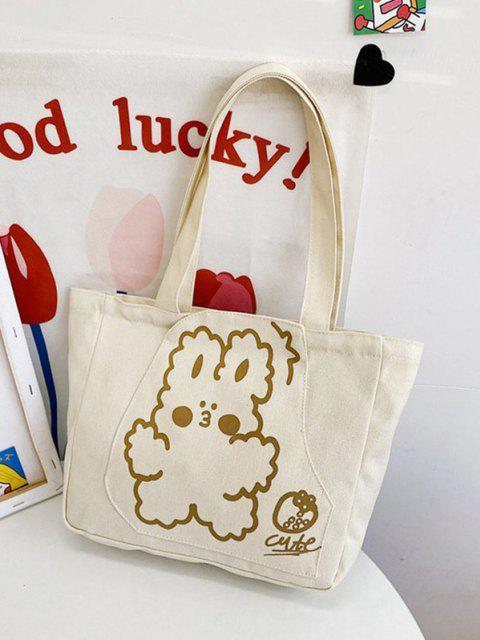 Nette Karikaturdruck Leinwand Einkaufstasche - Beige  Mobile