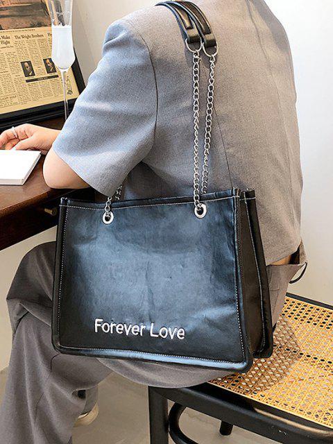 für Immer Liebe Stickerei Hälfte Kette Taschen - Schwarz  Mobile