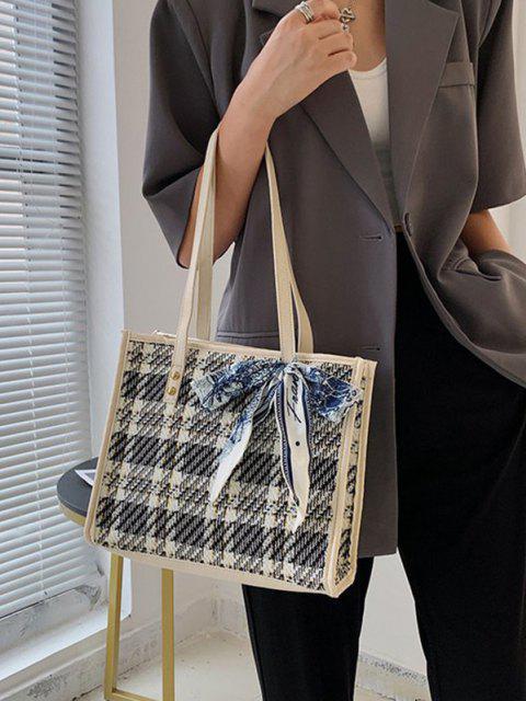 Tweed Gespleißte Schal Verdrehte Quadrat Tragetasche - Milchweiß  Mobile