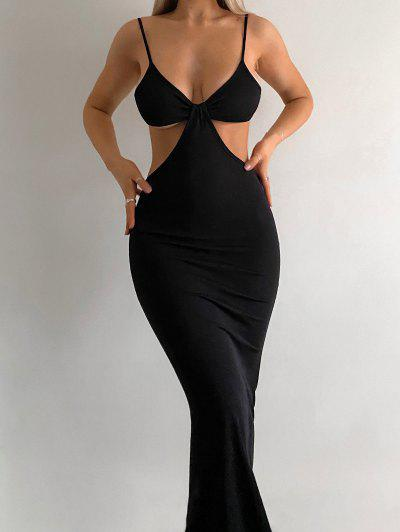 Spaghetti Strap Cutout Knit Maxi Mermaid Dress - Black S