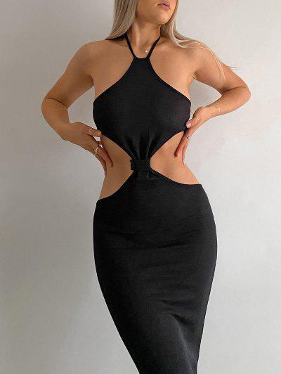 Halter Knit Cutout Slinky Maxi Dress - Black M