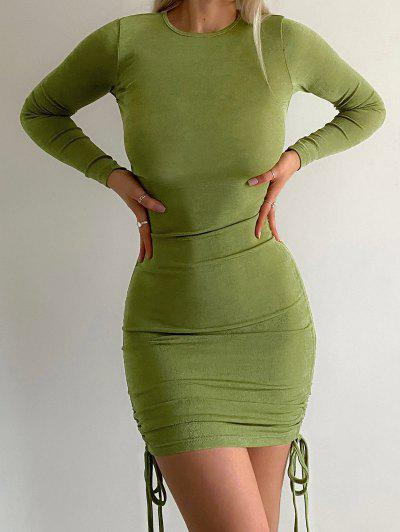 Cinched Ruched Long Sleeve Jersey Dress - Light Green M