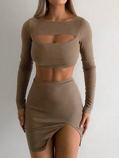 Cut Out Ribbed Front Slit Slinky Skirt Set - Coffee S