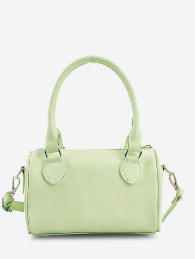 Minimalistic Top Handle Cylinder Crossbody Bag - Green Peas