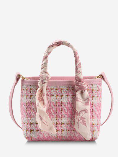 Plaid Tweed Scarf-Wrapped Top Handle Crossbody Bag - Pink