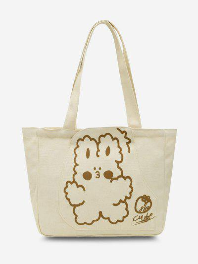 Cute Cartoon Print Canvas Tote Bag - Beige