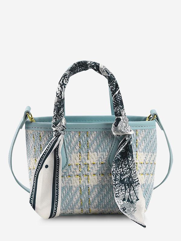 Plaid Tweed Scarf-Wrapped Top Handle Crossbody Bag