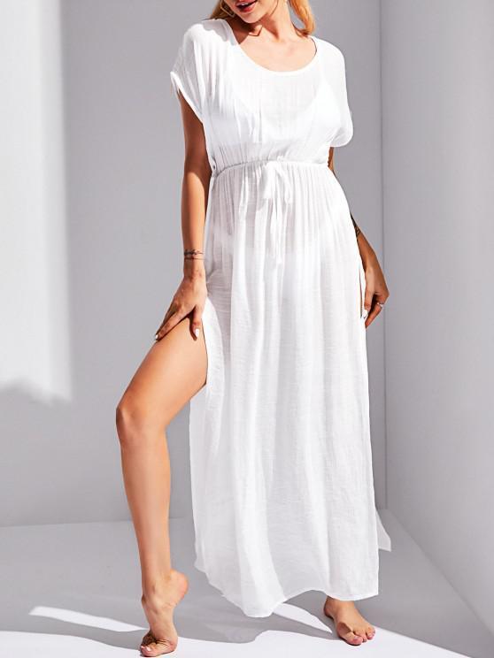 shop Tie Waist High Slit Beach Cover Up Dress - WHITE ONE SIZE